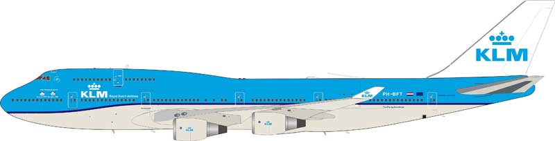 InFlight 200 Scale Diecast Airliners IF744NLCH001:KLM Boeing 747-400
