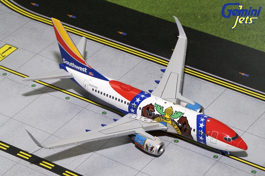 "Southwest B737-700 Sharklets ""Missouri One"" N280WN (1:200), GeminiJets 200 Diecast Airliners, Item Number G2SWA686"