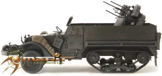 WWII M16 HALF-TRACK ARMY MILITARY ANTI AIRCRAFT DIRTY 1:87 SCALE DIECAST MODEL