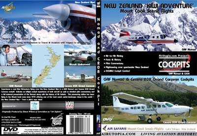 New Zealand Kiwi Adventure Mount Cook Flights, GAF Nomad & Cessna 208 Cockpits (DVD), Air Utopia Aviation DVDs Item Number AUT52
