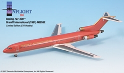 "Braniff International Ultra 727-200 ""Red Ultra"" (1:200), InFlight 200 Scale Diecast Airliners Item Number IF722009"