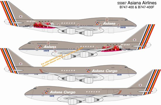 Asiana Airlines B747-400 & B747-400F Cargo (Twin Pack)(1:400), DragonWings 400 Diecast Airliners Item Number DRW55987