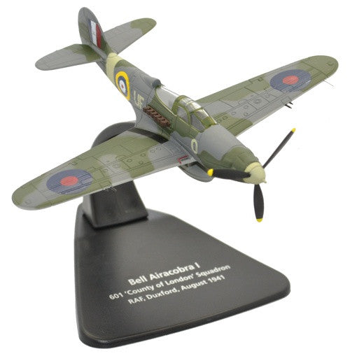"Bell Airacobra, No. 601 ""County of London"" Squadron, Royal Auxiliary Air Force, RAF Duxford, 1940, Oxford Diecast 1:72 Scale Models Item Number AC071"