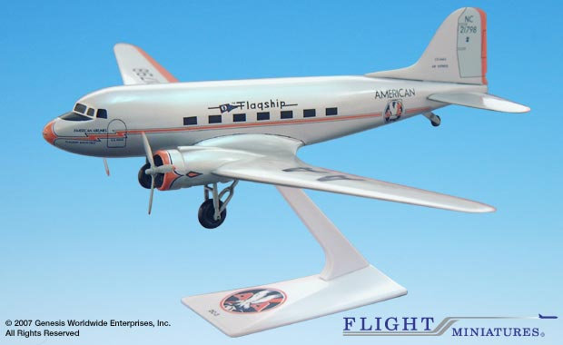 American DC-3 (1:100), Flight Miniatures Snap-Fit Airliners, Item Number DC-00300C-004