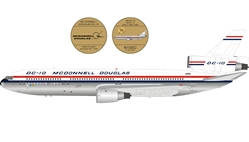 McDonnell Douglas DC-10 N10DC House Colors with stand and 50th anniversary coin polished (1:200)